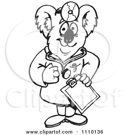 Clipart Black And White Aussie Koala Doctor - Royalty Free Illustration by Dennis Holmes Designs
