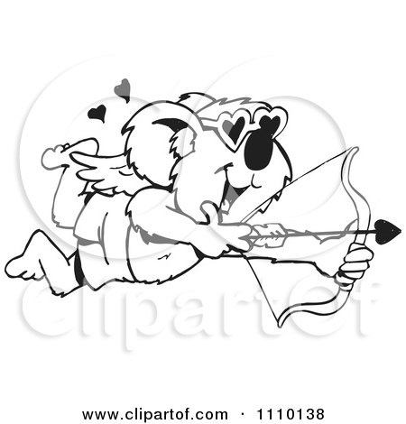 Clipart Black And White Aussie Koala Cupid - Royalty Free Illustration by Dennis Holmes Designs