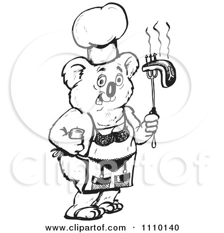 Clipart Black And White Aussie Koala Chef With A Bikini Apron And Bbq Steak - Royalty Free Vector Illustration by Dennis Holmes Designs