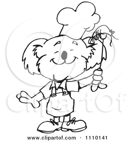 Clipart Black And White Aussie Koala Bbq Chef With Shrimp - Royalty Free Vector Illustration by Dennis Holmes Designs