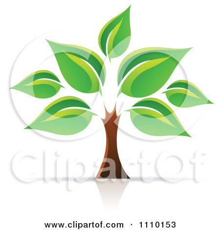 Clipart Tree Of Life With Large Green Leaves - Royalty Free Vector Illustration by cidepix