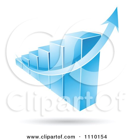 Clipart 3d Blue Statistic Bar Graph With A Growth Arrow - Royalty Free Vector Illustration by cidepix