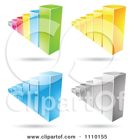Clipart 3d Statistic Bar Graphs - Royalty Free Vector Illustration by cidepix
