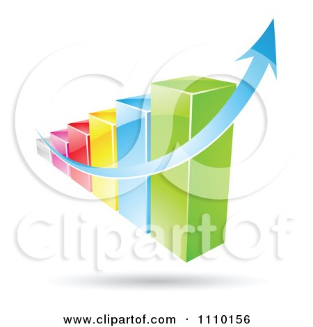 Clipart 3d Colorful Statistic Bar Graph With A Growth Arrow - Royalty Free Vector Illustration by cidepix