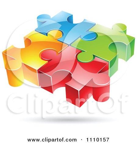3d Colorful Connected Puzzle Pieces Posters, Art Prints