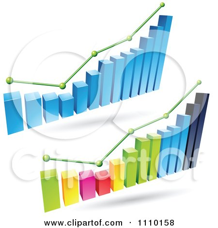 Clipart 3d Statistic Bar Graphs With Green Lines And Dots - Royalty Free Vector Illustration by cidepix