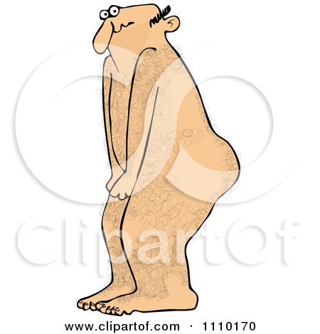 Clipart Cartoon Embarassed Naked Hairy Man Covering His Privates - Royalty Free Vector Illustration by djart