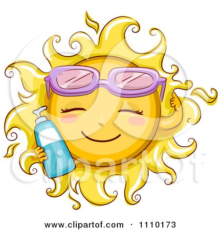 Clipart Happy Summer Sun Wearing Sunglasses And Holding sun Block - Royalty Free Vector Illustration by BNP Design Studio