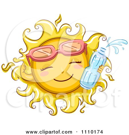 Clipart Happy Summer Sun Wearing Sunglasses And Holding A Water Bottle - Royalty Free Vector Illustration by BNP Design Studio