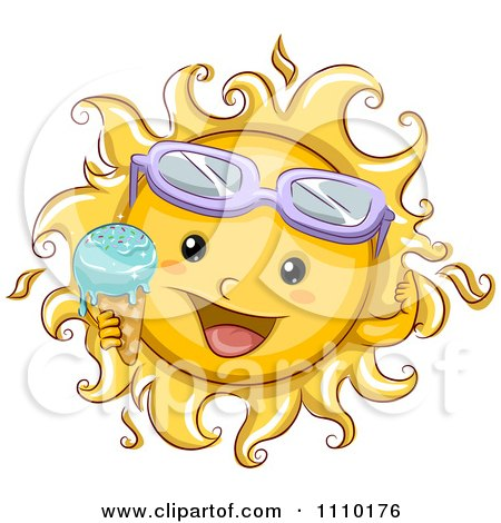 Clipart Happy Summer Sun Wearing Sunglasses And Holding A Melting Ice Cream Cone - Royalty Free Vector Illustration by BNP Design Studio