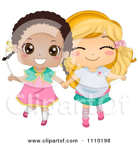 Cute Happy Best Friend Blond And Black Girls Holding Hands Posters, Art Prints