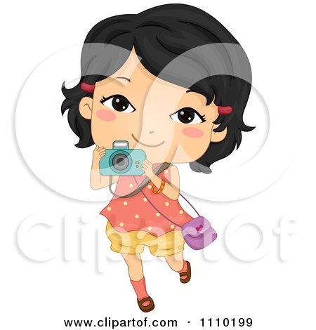 Clipart Happy Asian Girl Taking Pictures With Her Camera - Royalty Free Vector Illustration by BNP Design Studio