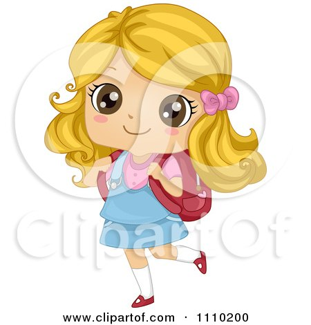Clipart Happy Blond School Girl Walking With A Book Bag - Royalty Free Vector Illustration by BNP Design Studio
