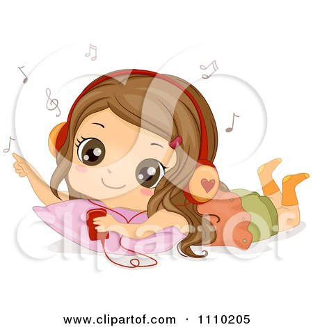 Clipart Relaxed Brunette Girl Listening To Music On Her Mp3 Player - Royalty Free Vector Illustration by BNP Design Studio