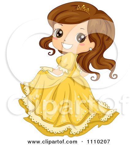 Clipart Cute Brunette Princess In A Yellow Dress And Tiara - Royalty Free Vector Illustration by BNP Design Studio