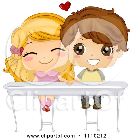 Clipart Cute School Boy And Girl Holding Hands Under Their Desk - Royalty Free Vector Illustration by BNP Design Studio