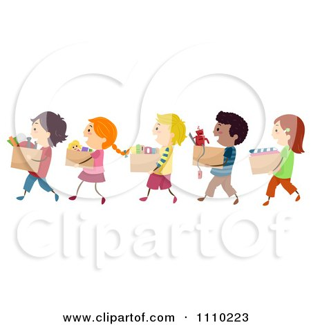 Clipart Line Of Diverse Happy Kids Carrying Boxes Of Books Clothing And Toys For Charity Drives - Royalty Free Vector Illustration by BNP Design Studio