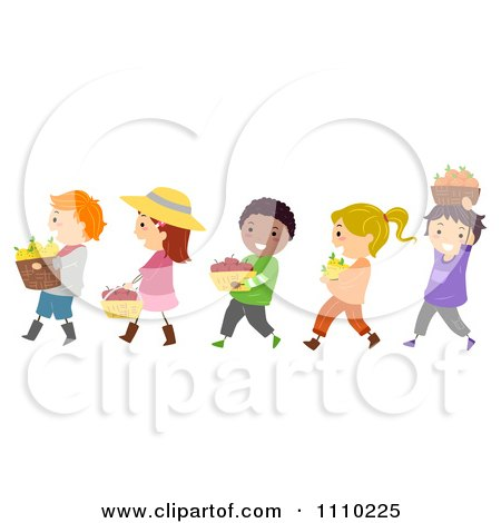Clipart Line Of Diverse Happy Harvest Kids With Bushels Of Produce - Royalty Free Vector Illustration by BNP Design Studio
