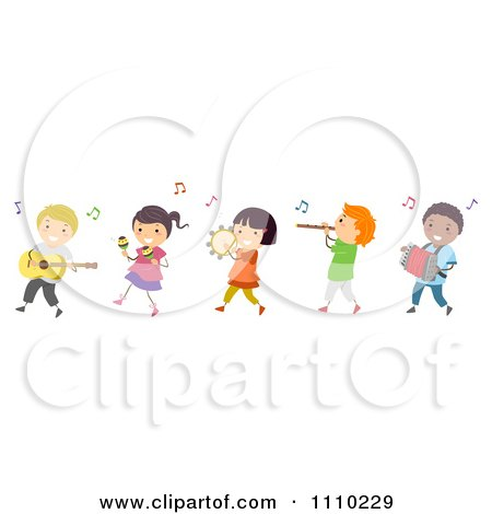 Clipart Line Of Diverse Happy Kids In A Band - Royalty Free Vector Illustration by BNP Design Studio