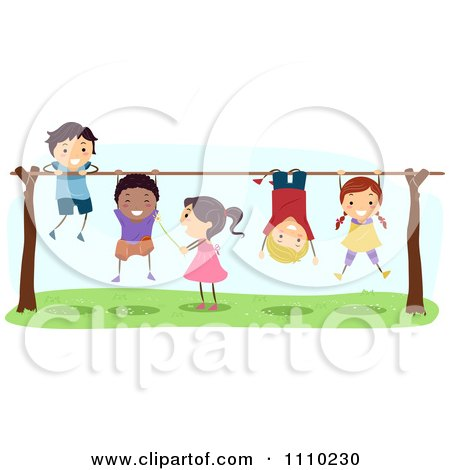Clipart Line Of Diverse Happy Kids Playing On Bars - Royalty Free Vector Illustration by BNP Design Studio