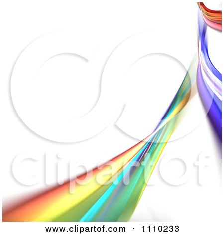 Clipart Rainbow Fractal Of Colorful Swooshes On White With Copyspace - Royalty Free CGI Illustration by Arena Creative