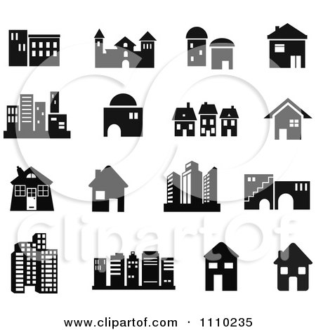 Clipart Black And White Building Icons - Royalty Free Vector Illustration by Prawny