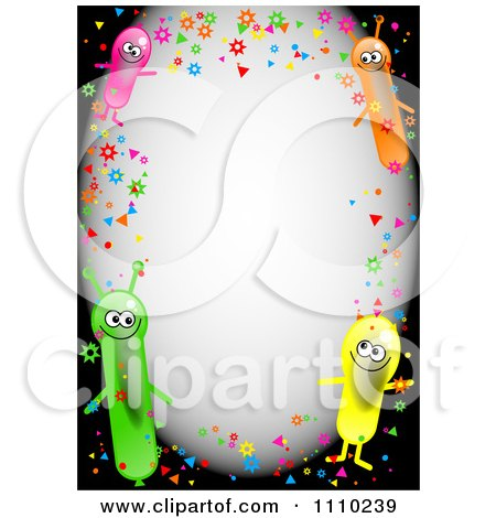 Clipart Border Of Confetti And Happy Alien Balloons With Copyspace On Black - Royalty Free Illustration by Prawny