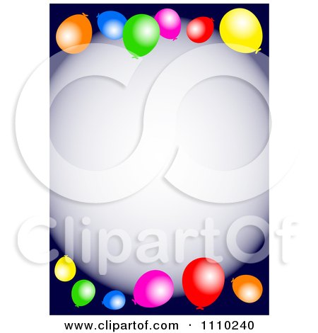 Clipart Colorful Party Balloons And Copyspace On Dark Blue - Royalty Free Illustration by Prawny