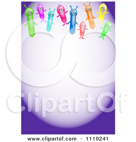 Clipart Happy Alien Balloons With Copyspace On Purple - Royalty Free Illustration by Prawny