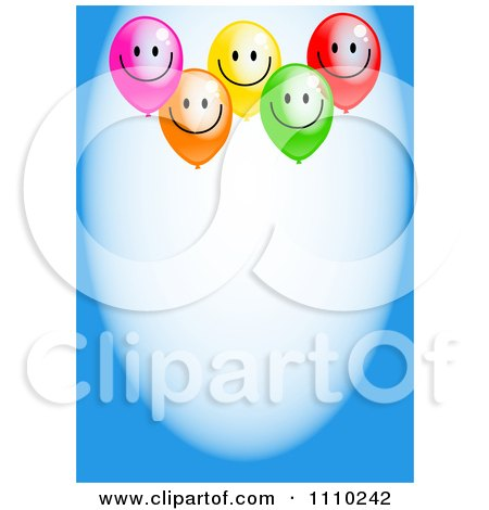 Clipart Happy Party Balloons And Copyspace On Blue - Royalty Free Illustration by Prawny