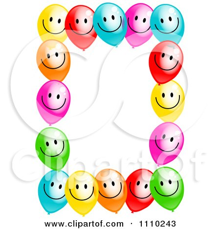 Clipart Frame Of Colorful Happ0y Party Balloons And Copyspace On White - Royalty Free Illustration by Prawny
