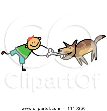 Clipart Sketched Stick Boy Giving His Dog A Bone - Royalty Free Vector Illustration by Prawny