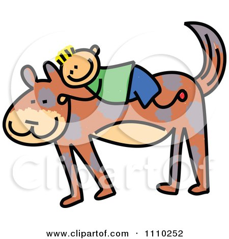 Clipart Sketched Stick Boy On A Giant Dogs Back - Royalty Free Vector Illustration by Prawny