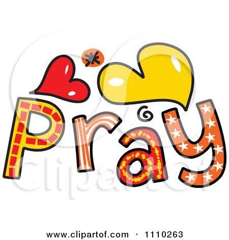 Clipart Colorful Sketched Pray Text 2 - Royalty Free Vector Illustration by Prawny