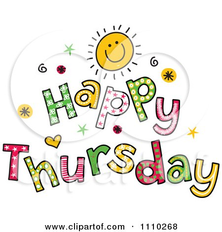 Royalty free clipart illustration of colorful sketched Happy Thursday ...
