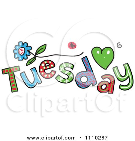 Clipart Colorful Sketched Tuesday Text - Royalty Free Vector Illustration by Prawny