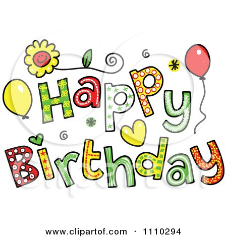 Clipart Colorful Sketched Happy Birthday Text 2 - Royalty ...