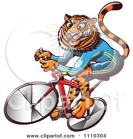 Clipart Athletic Tiger Cycling On A Bike - Royalty Free Vector Illustration by Zooco