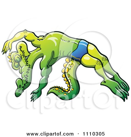 Clipart Athletic Swimmer Alligator Diving - Royalty Free Vector Illustration by Zooco