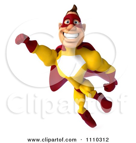Clipart 3d Super Hero Man In A Red And Yellow Costume In Flight 2 - Royalty Free CGI Illustration by Julos