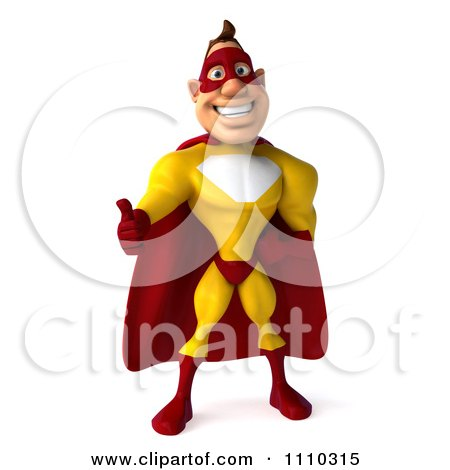 Clipart 3d Super Hero Man In A Red And Yellow Costume Holding A Thumb Up 1 - Royalty Free CGI Illustration by Julos