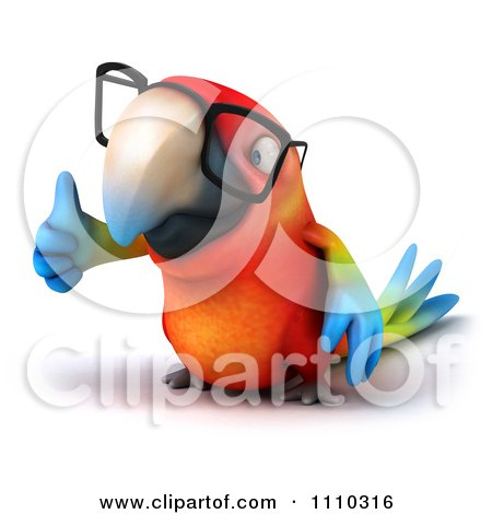 Clipart 3d Macaw Parrot Wearing Glasses And Holding A Thumb Up 2 - Royalty Free CGI Illustration by Julos