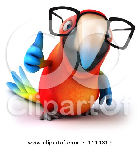 Clipart 3d Macaw Parrot Wearing Glasses And Holding A Thumb Up 1 - Royalty Free CGI Illustration by Julos