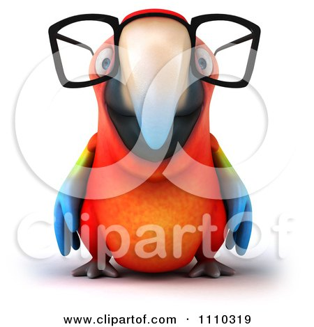 Clipart 3d Macaw Parrot Wearing Glasses 1 - Royalty Free CGI Illustration by Julos