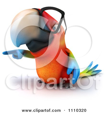 Clipart 3d Macaw Parrot Wearing Glasses And Pointing - Royalty Free CGI Illustration by Julos