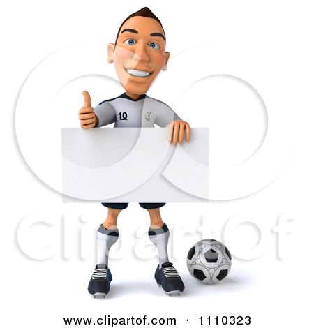Clipart 3d White German Soccer Player Holding A Sign And Thumb Up 2 - Royalty Free CGI Illustration by Julos