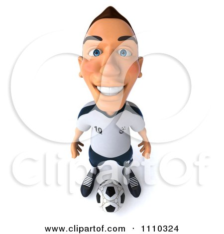 Clipart 3d White German Soccer Player 3 - Royalty Free CGI Illustration by Julos