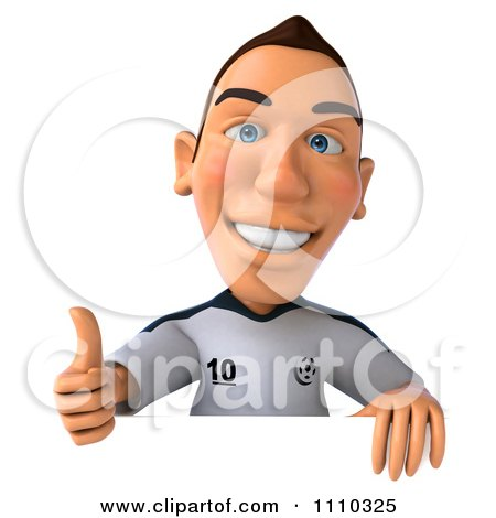 Clipart 3d White German Soccer Player Holding A Sign And Thumb Up 1 - Royalty Free CGI Illustration by Julos