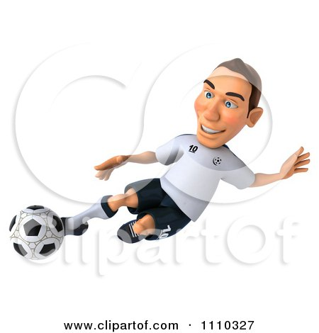 Clipart 3d White German Soccer Player Kicking 2 - Royalty Free CGI Illustration by Julos