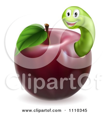 Clipart Happy Green Worm In A Red Apple - Royalty Free Vector Illustration by AtStockIllustration